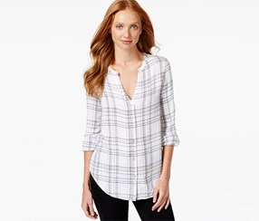 Calvin Klein Women's V-Neck Plaid Shirt, White