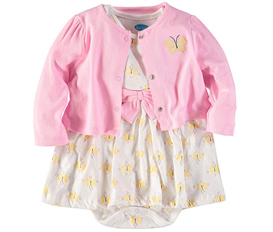 Bon Bebe Baby Girl's Cardigan And Dress Set, Pink/Yellow