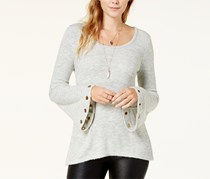Kensie Women's Soft Grommet-Sleeve Sweater, Grey