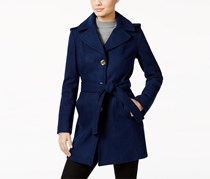 Michael Kors Women's Petite Wool-Blend Hooded Walker Coat, Navy Blue