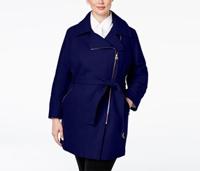 Michael Kors Women's Plus Size Asymmetrical Belted Walker Coat, Navy