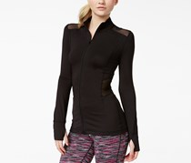 Material Girl Active Women's Illusion Zipper-Front Jacket, Black