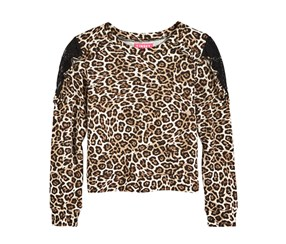 Tinsey Girl's Lace-Trim Animal-Print T-Shirt, Brown/Black