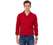 Nautica Men's Cable-Knit Shawl-Collar Sweater, Red