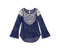 Beautees Girl's Lace-Shoulder Top, Navy/White