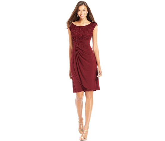 Connected Apparel Women's Lace Faux-Wrap Dress, Maroon