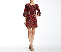 Angie 3/4 Length Bell Sleeve Printed Sweater Dress, Red