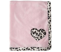 Bon Bebe Baby-girls Newborn Animal Print Plush Coral Fleece Blanket, Pink