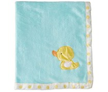 Bon Bebe Baby Boys Or Girls  Newborn Ducky Plush Coral Fleece Blanket, Blue/Yellow