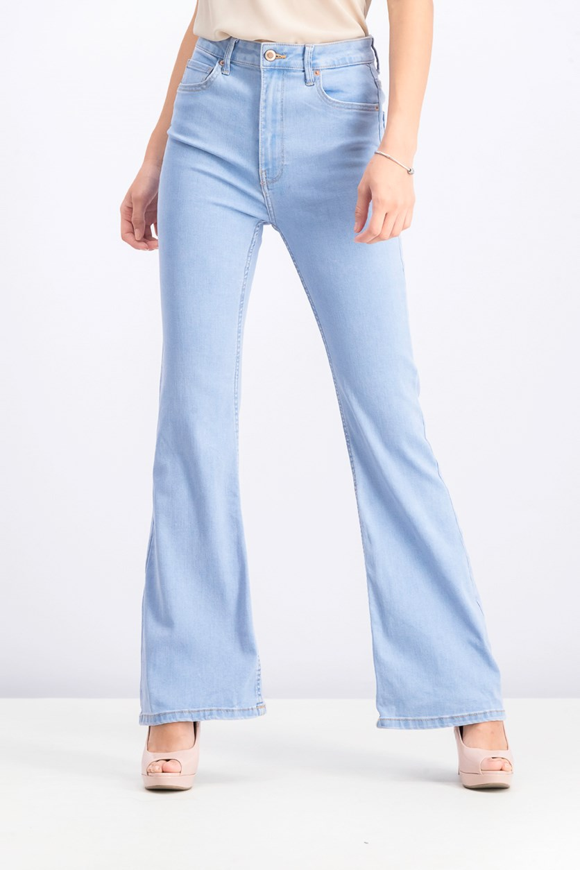 Women's Flared High Waist Jeans, Blue