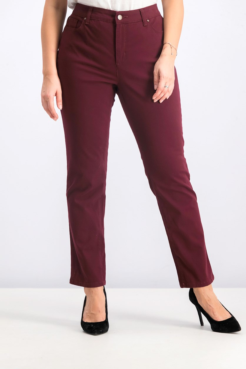 Women's Petite Lexington Straight-Leg Jeans, Maroon