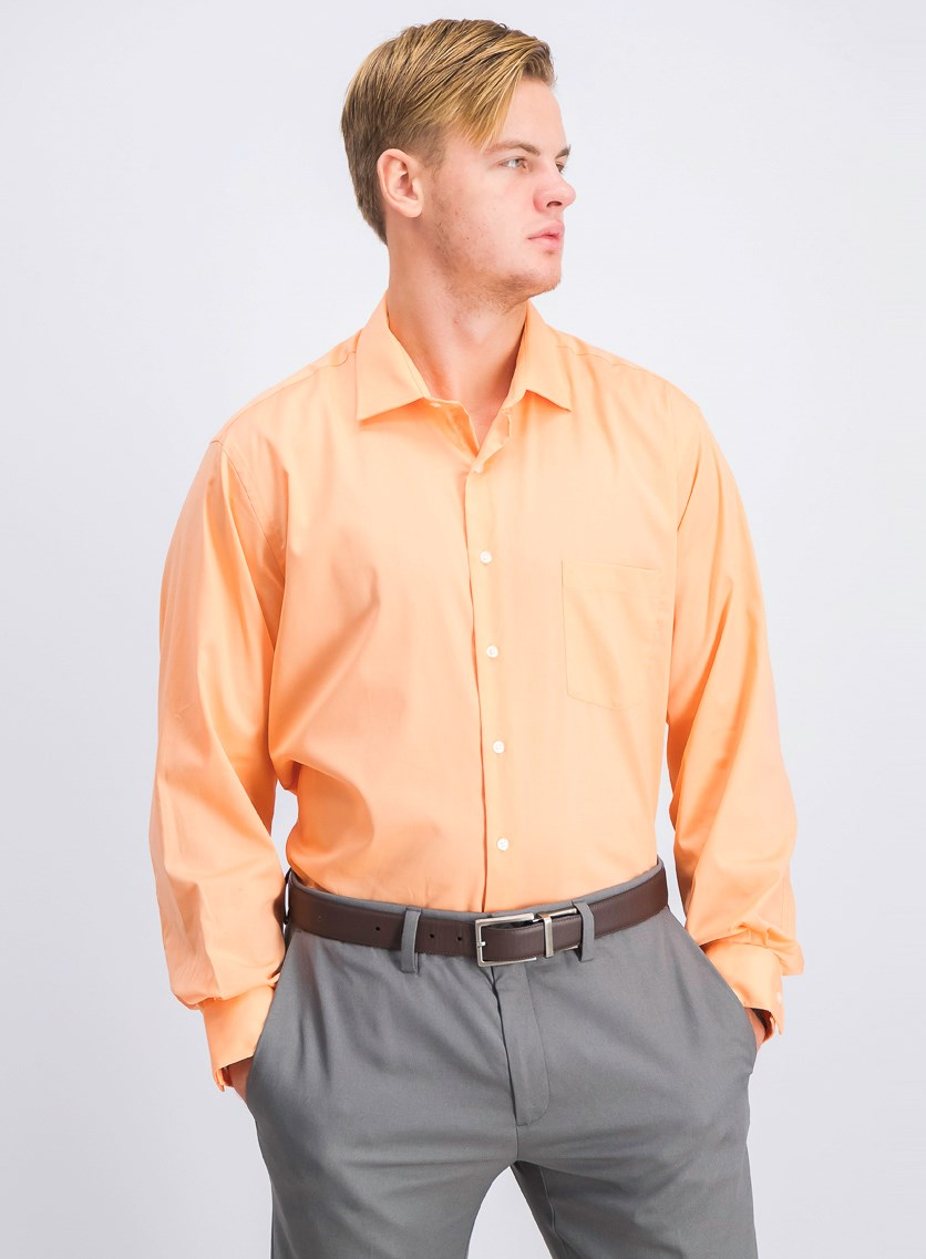 Men's Classic-Fit  Stretch Solid Dress Shirt, Orange