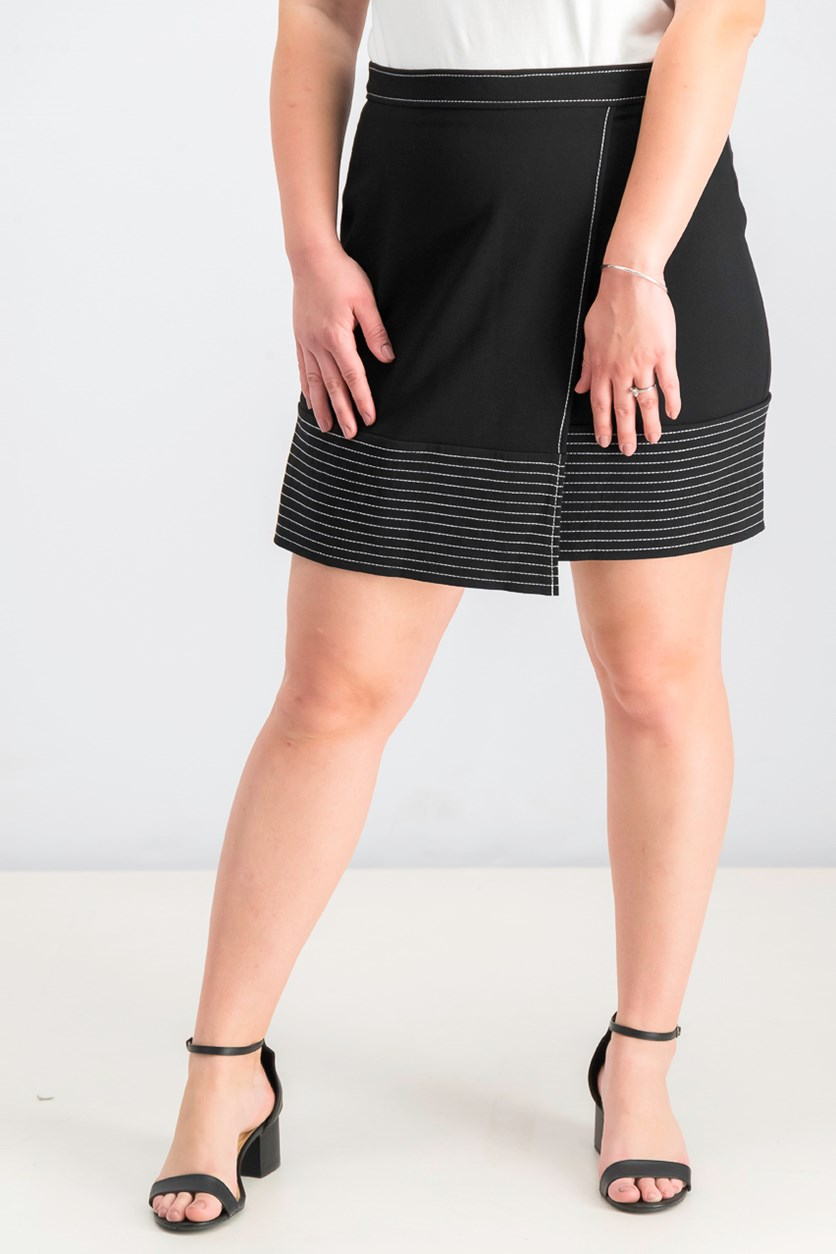 Women's Faux-Wrap Contrast-Stitch Skirt, Black