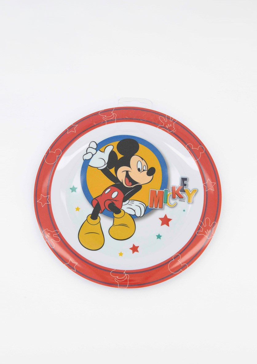 Mickey Mouse Embossed Plate, Red Combo