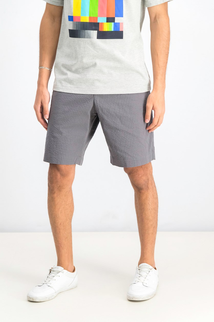 Seersucker Regular Fit Shorts, Dark Grey