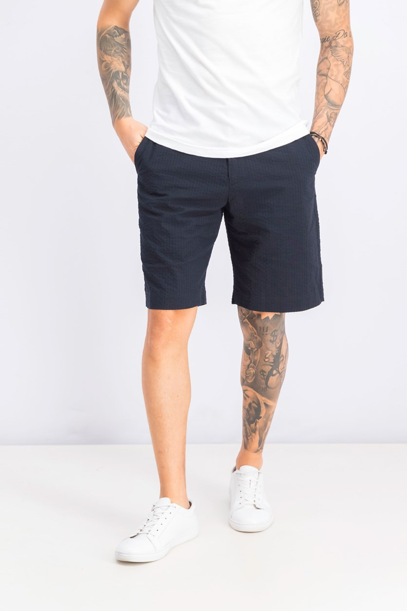 Men's Seersucker Regular Fit Shorts, Midnight Navy