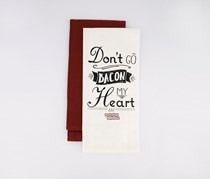 Don't Go Bacon My Heart Kitchen Towel, White/Bugundy