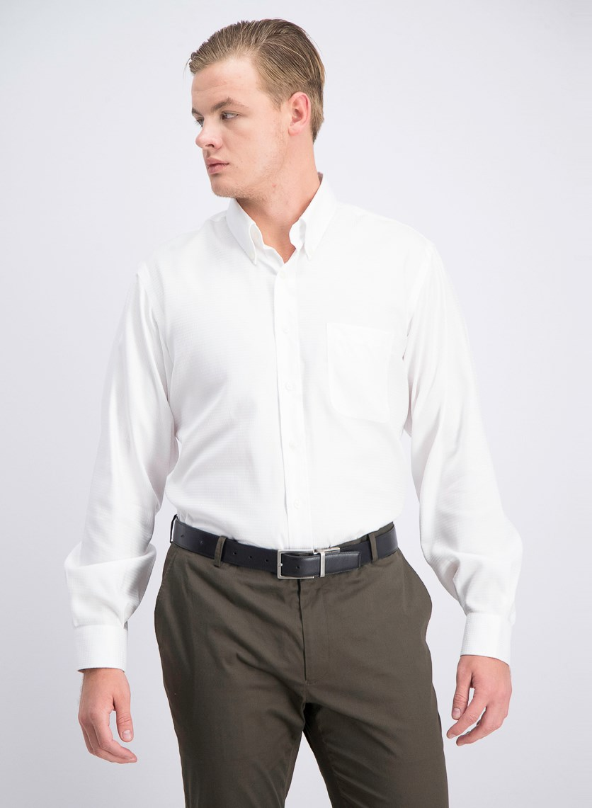 Men's Textured Dress Shirt, White
