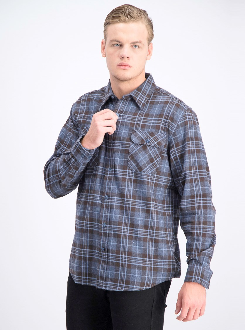 Men's Plaid Pattern Shirt, Dark Blue