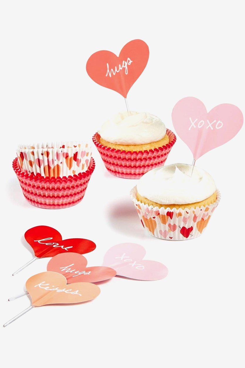 Collection Heart Cupcake Liners Toppers, Pink/Orange