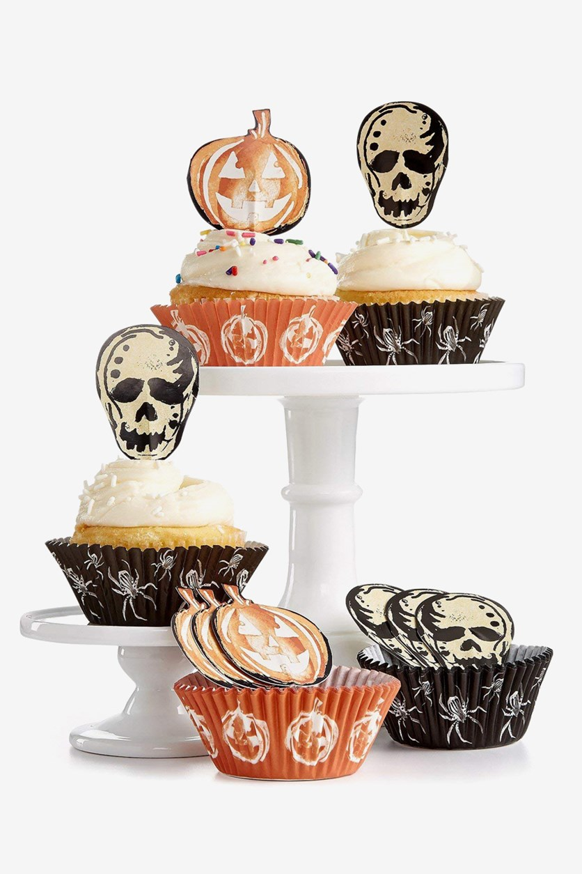 Halloween Cupcake Liners and Toppers, Black/Brown