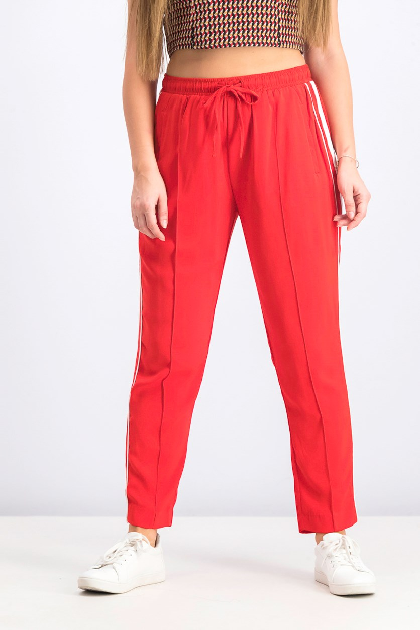 Women's Elastic Pants, Red/White