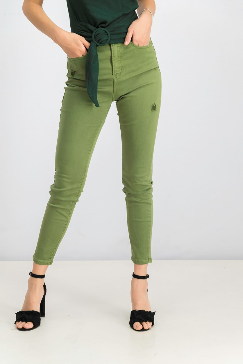 Women's Super High Waist Jeans, Green