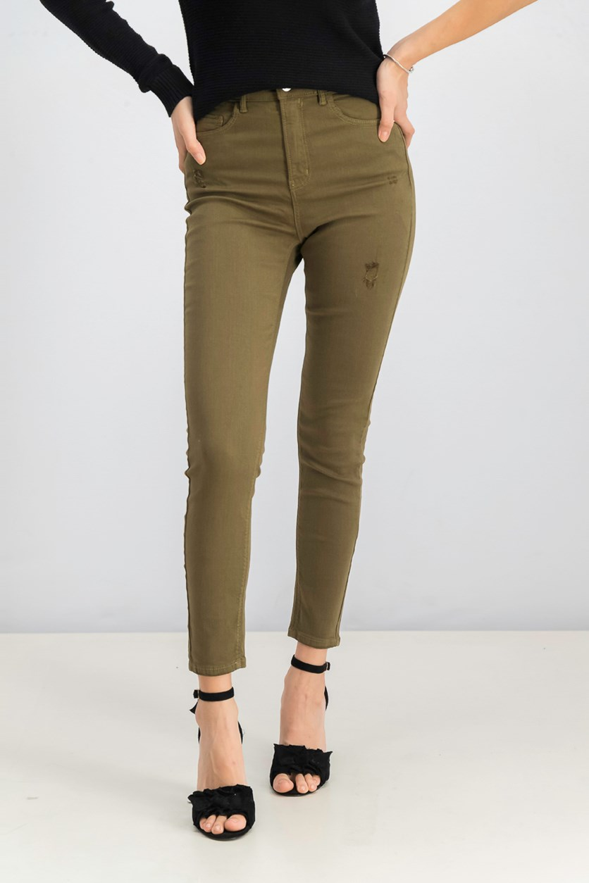 Women's Super High Waist Jeans, Olive