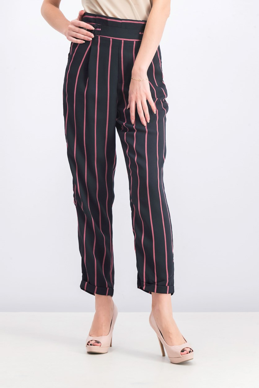 Women's Stripe Pants, Black Combo