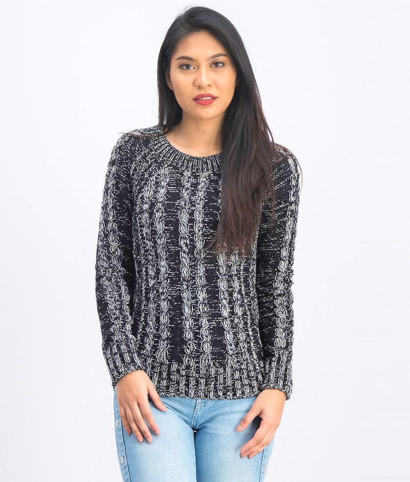 Women's Long Sleeve Sweater, Black/White