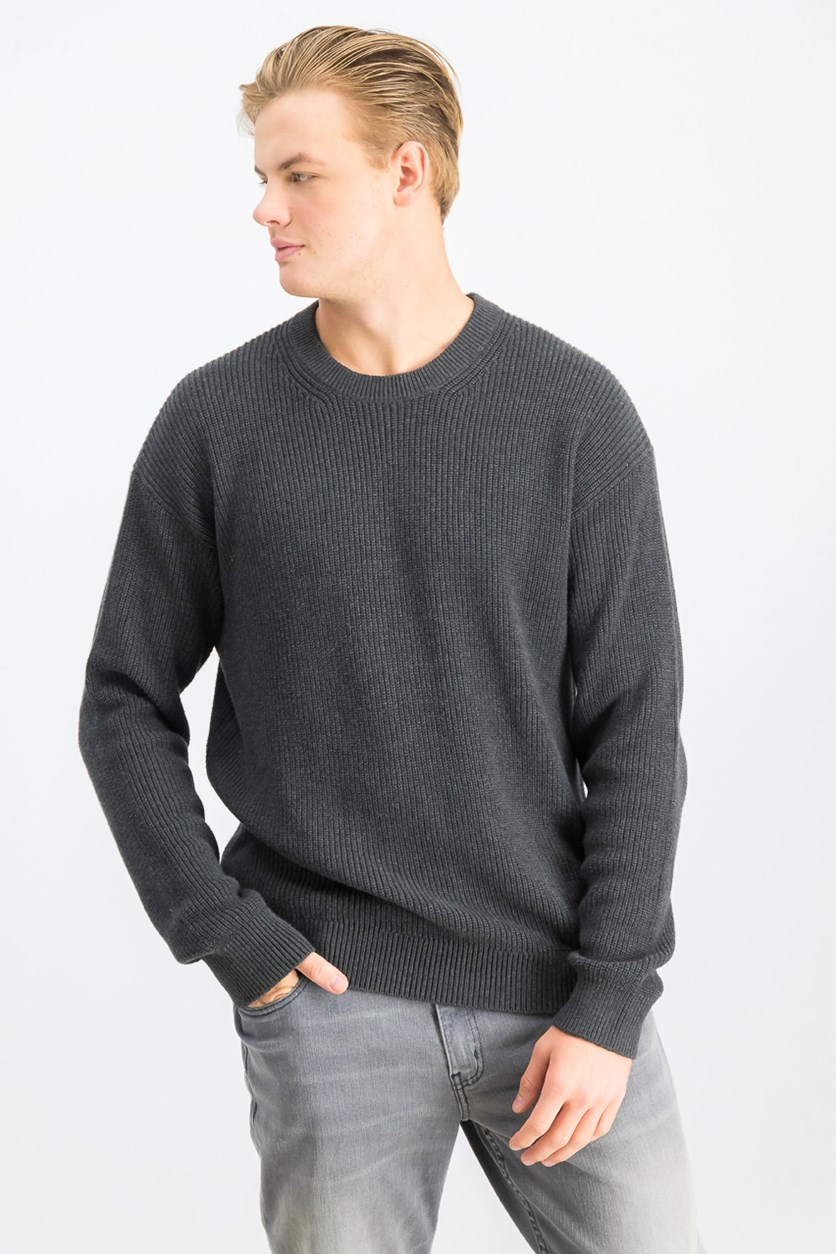 Mens Long Sleeve Sweater, Charcoal