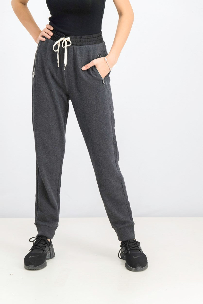 Women's Drawstring Jogger Pants, Charcoal