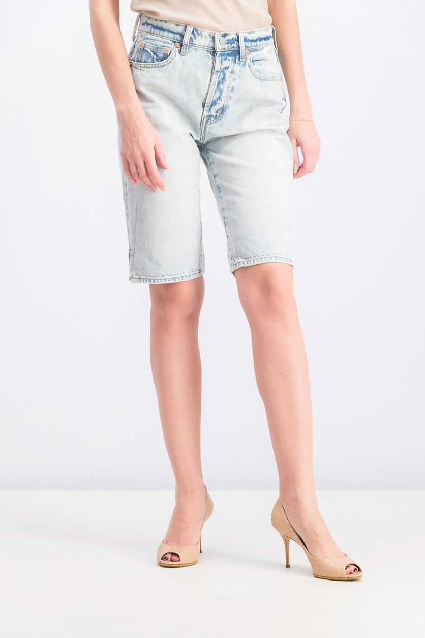 Women's Bermuda Denim Short, Acid Blue