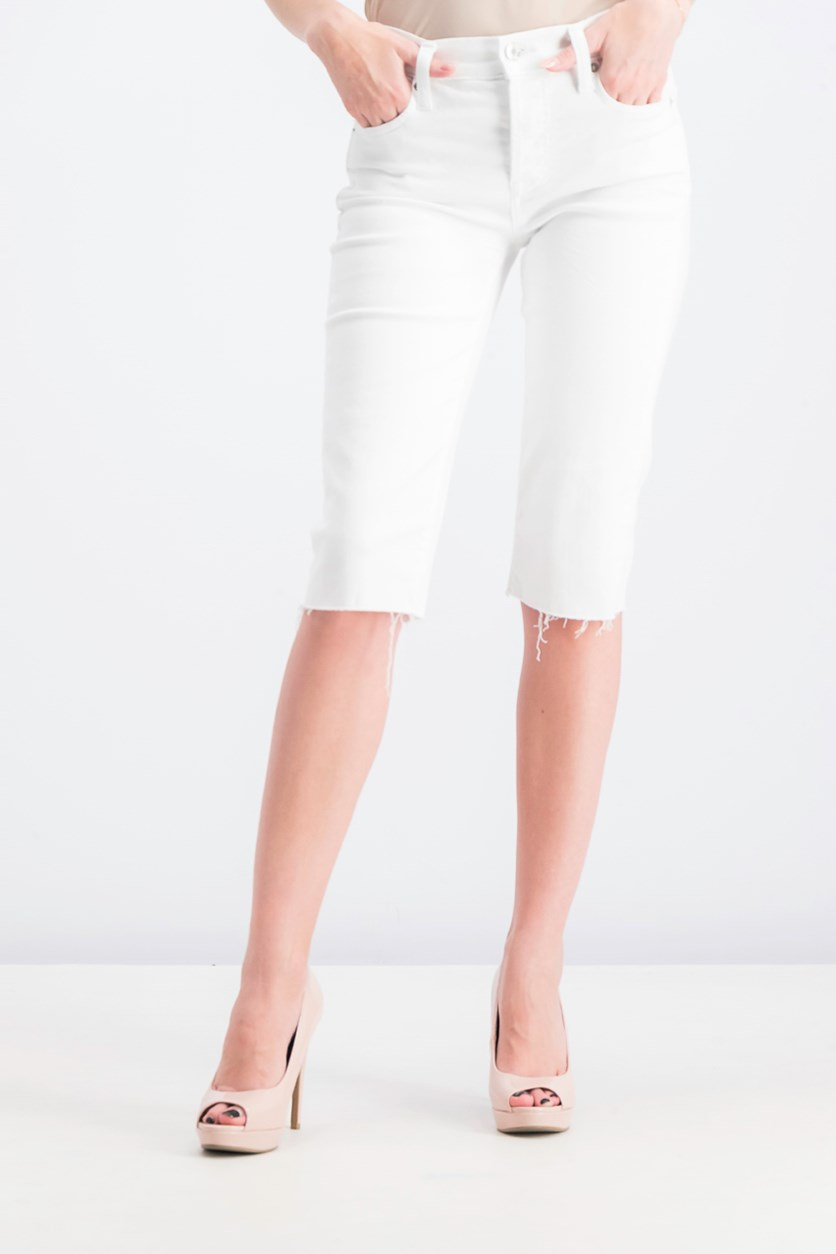 Women's Petite Denim Short, White