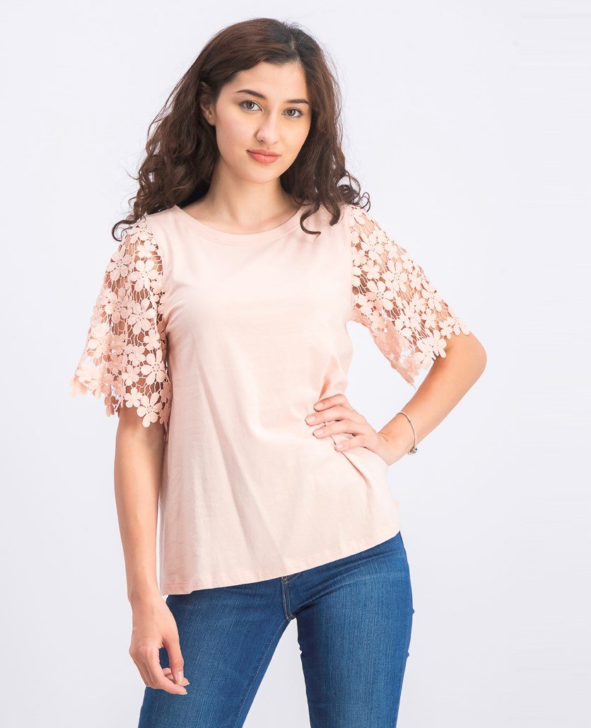 Women's Crochet Sleeve Tops, Blush