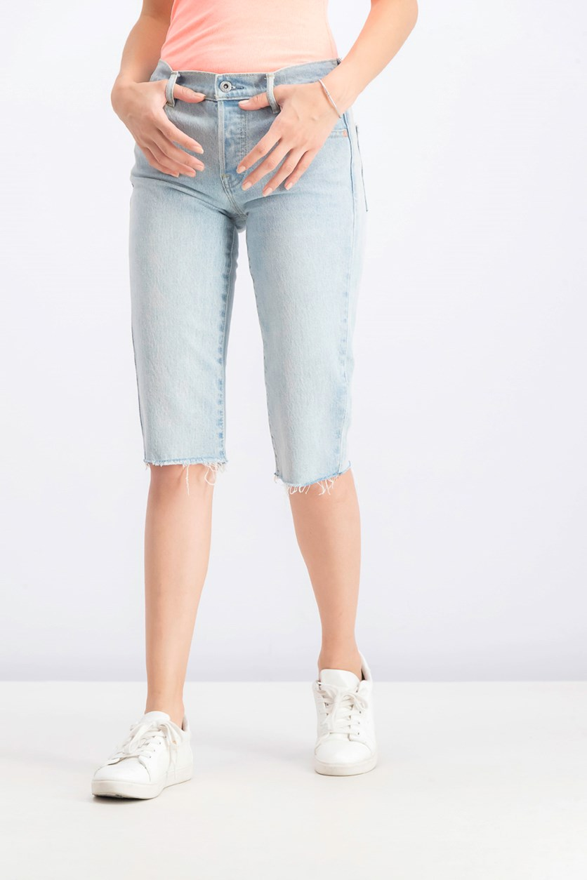 Women's Petite Super Crop Shorts, Blue Wash
