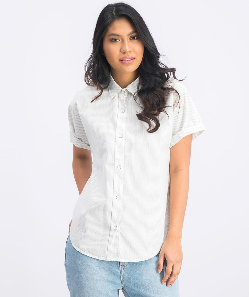 Women's Striped Short Sleeve Shirt, Off White