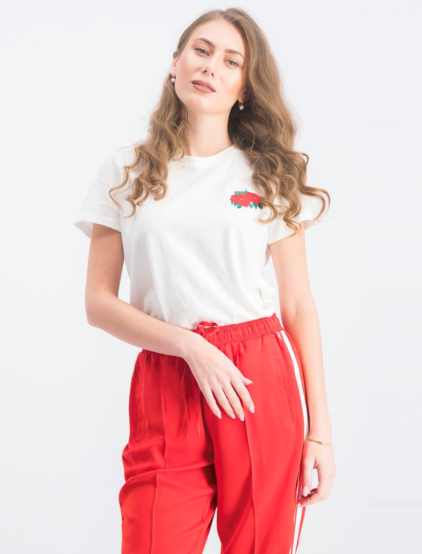 Women's Embroidered Floral T-Shirt, White