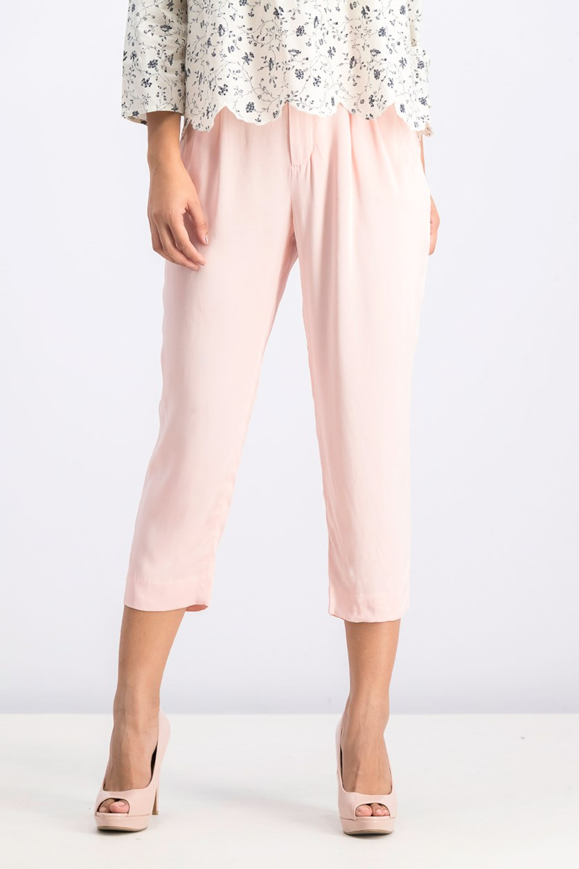 Women's Plain Satin Trousers, Pink Rose