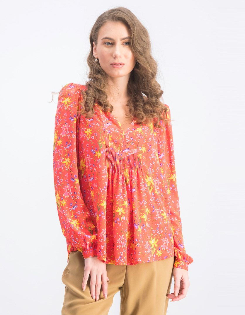 Women's Printed Floral Tops, Red Combo