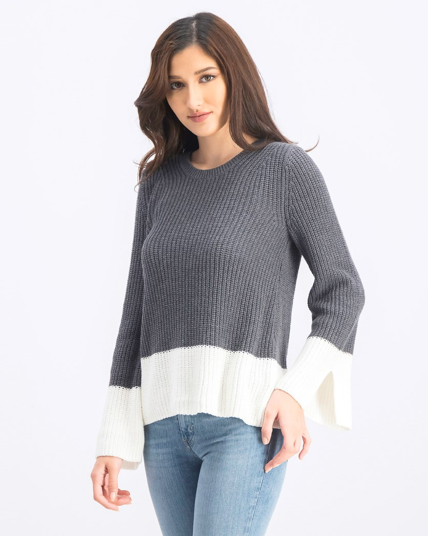 Women's Long Sleeve Sweater, Charcoal/White