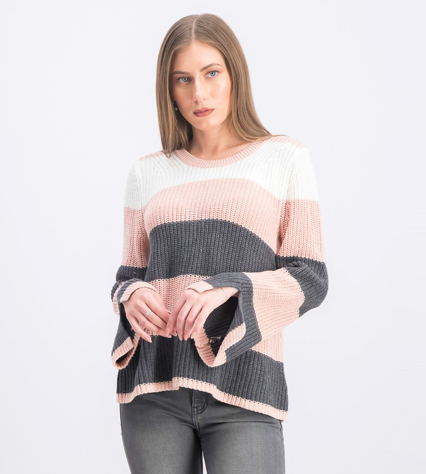 Women's Stripe Knit Sweater, Blush/White/Charcoal