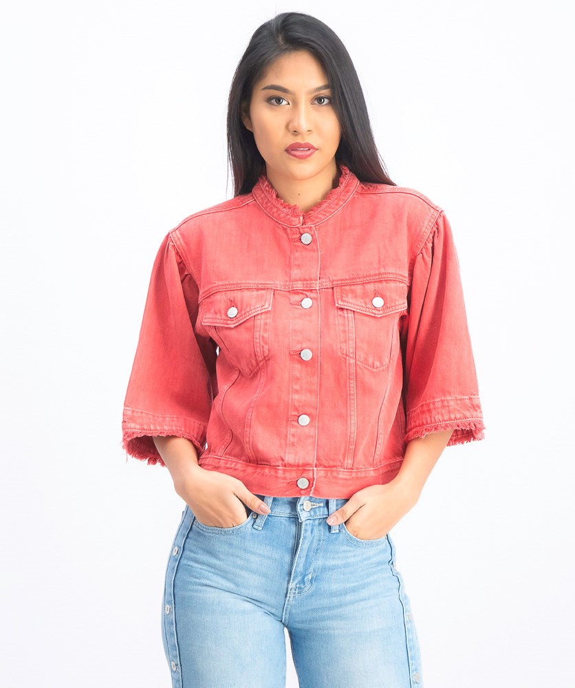 Women's Bell Sleeve Denim Jacket, Red Orange
