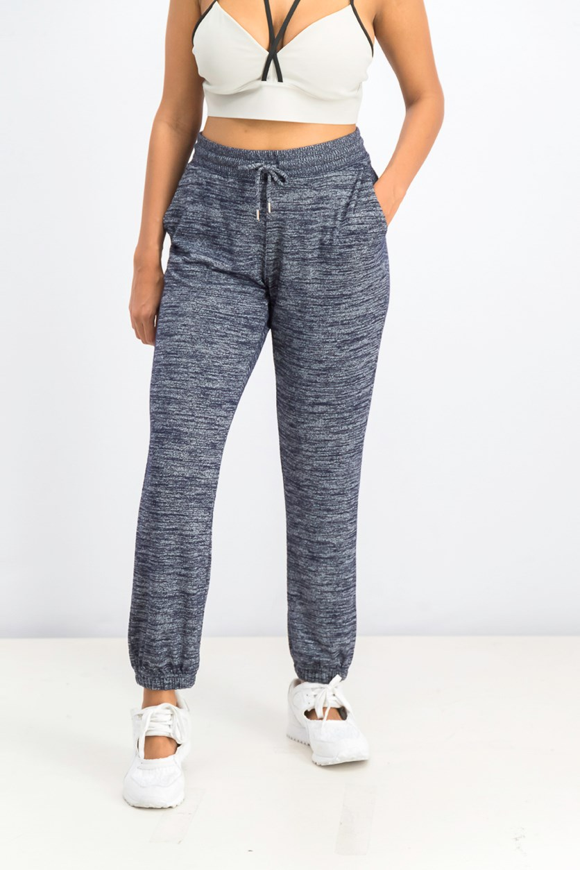 Women's Heather Jogger Pants, Navy Combo