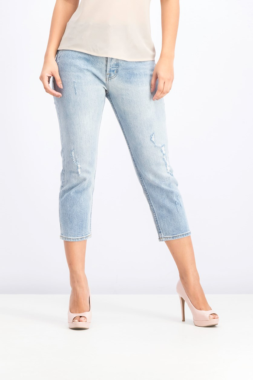 Women's Petite Straight Leg Crop Jeans, Blue Wash