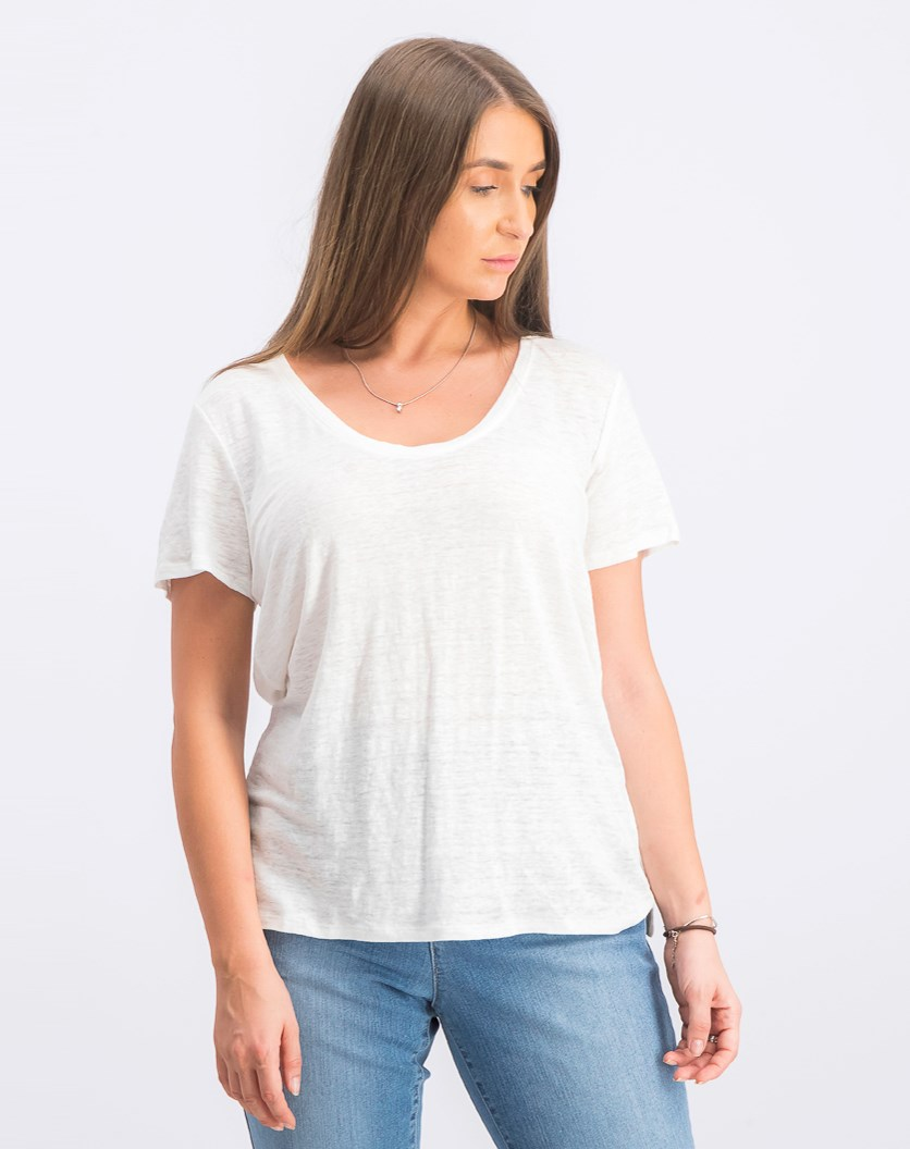 Women's Plain Short Sleeve Top, White