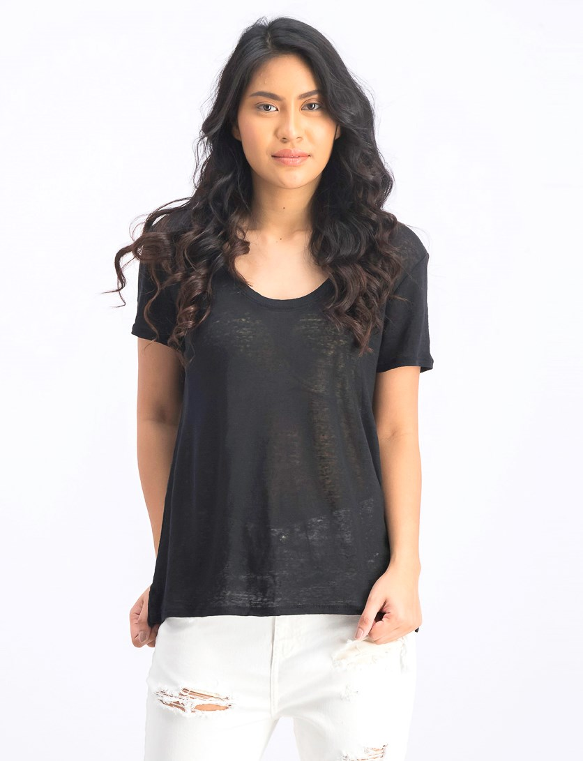 Women's Short Sleeve Plain T-Shirt, Black