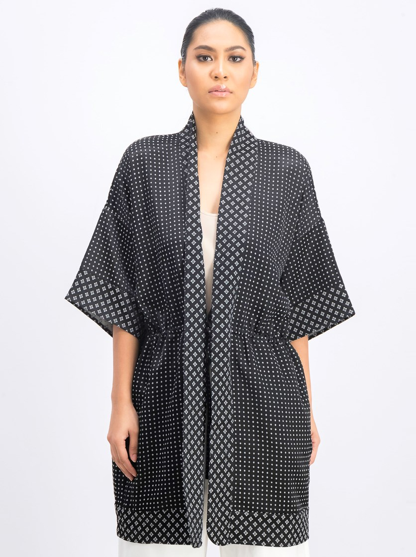 Women's Allover Printed Kimono, Black/White