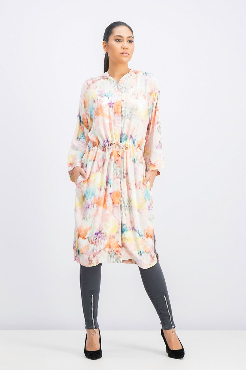 Women's Hooded Floral Dress, Pink/Orange Combo