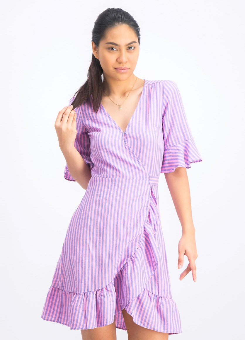 Women's Stripe Wrap Dress, Pink/Blue